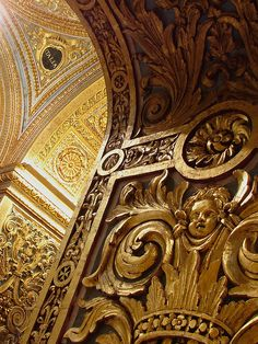 Details of the richly ornamental baroque interior of the Cathedral of the Knights of St. John, Valletta, Malta