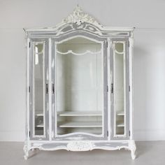 Large Glass-Fronted French Armoire - French Armoires - beds & wardrobes