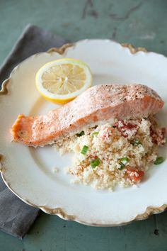 Paula Deen Salmon Filets over Couscous. I already ROCK the salmon filet with couscous dinner, but she might have an idea or two to try...