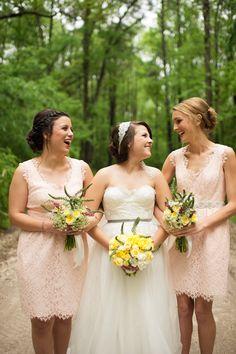 pink lace bridesmaids' dresses, photo by Rach Lea Photography http://ruffledblog.com/the-notwedding-savannah #lacedress #bridesmaidsdress