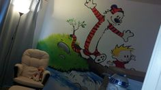 Calvin and Hobbes inspired room for baby room--I'd have all the comic books in a shelf too of course:)