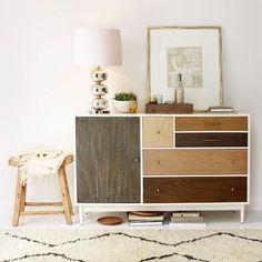 Patchwork Dresser from west elm. LOVE, LOVE, LOVE this. interior design, westelm, living spaces, patchwork dresser, dressers, boy nurseries, stain, wood grain, west elm