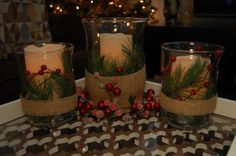 Christmas Candle Centerpiece-- can make with extra greenery cut from the bottom of the tree