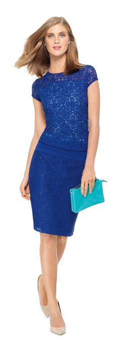 COSMOPOLITAN BLUES- Create this look with our Lace Front Top, Crochet Lace Pencil Skirt and Convertible Crossbody Clutch from THELIMITED.com #TheLimited #Blue #RoyalBlue #Lace #Texture #Fashion #LTDStyle #UrbanChic #Chic #WeartoWork #W2W #OfficeStyle
