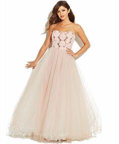 Speechless Juniors' Strapless Rosette Tulle Dress