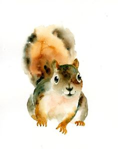 Little Troublemaker - Love the watercolour texture without any lines to constrain it! watercolor animals, wall art, illustrations kids, watercolor portraits, kids wall, illustration animal kids, animal watercolor paintings, squirrel, watercolor illustrations