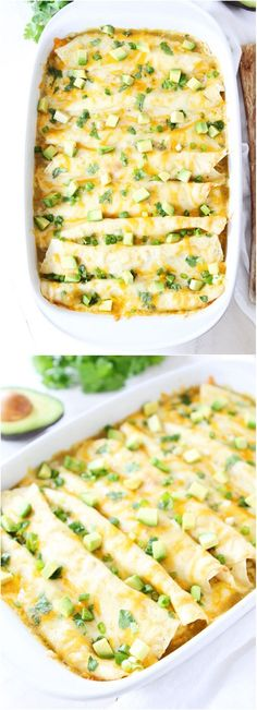 Creamy Spinach and Cheese Green Chile Enchiladas
