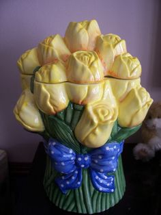Tulips Cookie Jar made in China by Treasure Craft