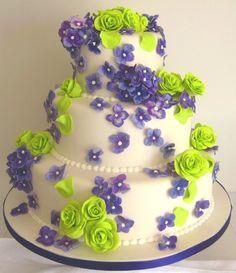 cake frosting, colorful cakes, lime, white cakes, cake designs, purple cakes, sugar flowers, green weddings, purple wedding cakes