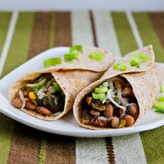 Slow Cooker Recipe for Spicy Vegetarian Pinto Bean and Chard Burritos; if you have chard in the garden this is a great way to use it! [from Kalyn's Kitchen] #SlowCooker #CrockPot #MeatlessMonday #Chard