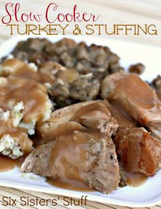 Slow Cooker Turkey and Stuffing- the easiest way to make Thanksgiving dinner! SixSistersStuff.com #Thanksgiving #recipe