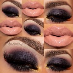 lipsticks, eye makeup, dark eyes, nude lip, lips eyeshadow, morning coffee, beauti, smokey eye, hair
