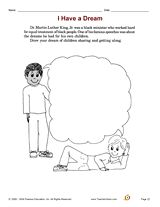 "Drawing activity for Dr. King's ""I Have a Dream"" speech http://www.teachervision.fen.com/martin-luther-king-jr/printable/29364.html #MLK"