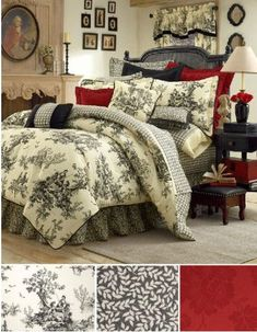 bedding, pillow, toile, comforter sets, bed linens, country bedrooms, black, sweet dreams, comforters