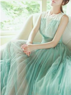 Gorgeous tulle maxi dress in #mint
