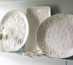 white dish, serving pieces, serv platter, potteri barn, plate, barns, serving dishes, pottery barn, kitchen cabinets