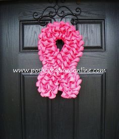 Breast Cancer Awareness Wreath, Think Pink, Burlap Wreath, Breast Cancer Wreath, Pink Burlap on Etsy, $45.00