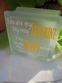 You are my Sunshine glass Night Light by EmbellishedLiving on Etsy, $28.00