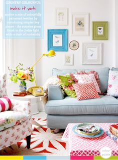 A Colourful Country Living Room (Photograph by Rachel Whiting) colorful living room, interior design, color explos, colorful country living room, colors, bathroom designs, couches, color suav, bedroom designs