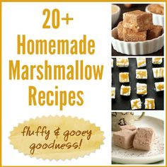 20+ Homemade Marshmallow Recipes - fluffy & gooey goodness! Lots of flavored marshmallows, plus marshmallow fluff and gluten-free marshmallows