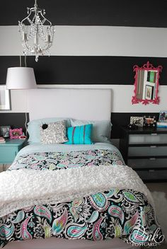 *Pink Postcard*: modern and colorful teen bedroom the only thing i like about this is the bedding