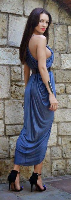 Dark Blue Sexy Dress With Belt