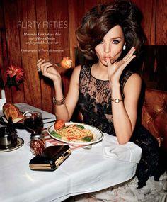 miranda kerr, fashion glamour, 1950s style, dolce vita, style hair, big hair, 60s hair, terry richardson, italian foods