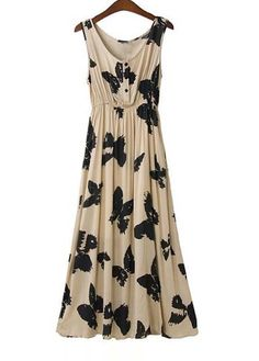 Chinese Style Butterfly Print Cotton Sleeveless Beach Dress
