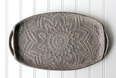 Charcoal Pottery Tray - Deep Gray Lace - Ceramic Appetizer Plate - Serving Tray