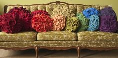 ruffles. rainbows, cushions, recycled sweaters, rainbow colors, throw pillows, couch pillows, couches, cashmere, ruffles