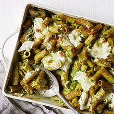 Baked Ziti with Pea-and-Arugula Pesto #recipe