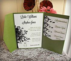 Wedding Invitation Pocketfold but in black or purple.  Mason Jar Hanging from a Tree