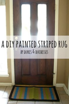 a DIY painted striped rug