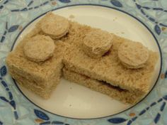 Lego sandwiches- I used an apple corer to get nice round circles http://www.babble.com/best-recipes/kids-cooking/lego-food-theme-ideas-kids/