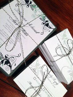 Via @Cleveland Wedding Invitations: Don't want to use a specialty printing process? Using ribbons, cut outs and other decorations will help you wow your guests without taking a ton out of your budget. One simple, creative way to dress up your invitations and make your package stand out is using baker's twine. The string is relatively inexpensive and comes in a variety of colors.