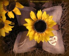 Ring Bearer Pillow Rustic Winter Wedding Decor Personalized Wood Heart Custom (Your Color Choice of Ribbon and Flower) via Etsy burlap, ring pillows, heart, sunflowers wedding rustic, colors, ring bearer pillows, rustic weddings, pillow rustic, winter weddings