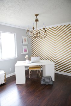 Chevron accent wall, FABULOUS. Would be even more fabulous in a rose gold hue.