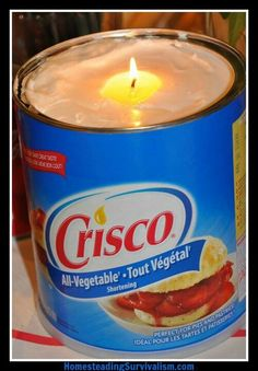In emergency situations, insert a wick into a container of Crisco and it will burn for 45 days.