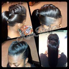 Ponytail with braid detail by @kiastylez - http://www.blackhairinformation.com/community/hairstyle-gallery/relaxed-hairstyles/ponytail-braid-detail-kiastylez/ #ponytail #braid
