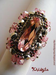 Krisztagyöngy: Rose gyűrű minta