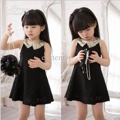 Wholesale Girls Toddlers Peter Pan Sequin Collar Lace Dress Kids Sleeveless Dresses 2-10Y Black Whtie Color, Free shipping, $9.61-11.17/Piece   DHgate