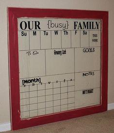 DIY dry erase calendar idea