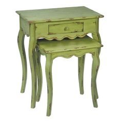 I pinned this 2 Piece Verde Stacking Table Set from the Colorful Coop event at Joss and Main! Gorgeous! nesting tables, side tables, color, green, distressed furniture, stack tabl, paint, tabl set, nest tabl