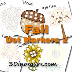 More Fall Dot Marker Pages: Acorn, Trees, and Sunflowers - 3Dinosaurs.com