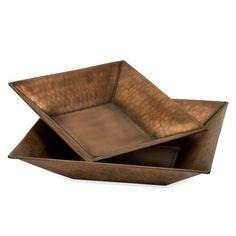Imax Tauba Copper Plated Square Bowls Set Of  Imax Tauba