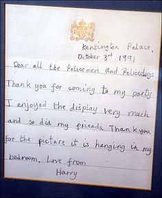 A letter Prince Harry wrote at age 7.