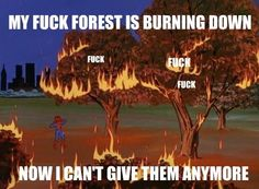 NO!!!! NOT THE FUCK FOREST!!! THE HUMANITY!!!!