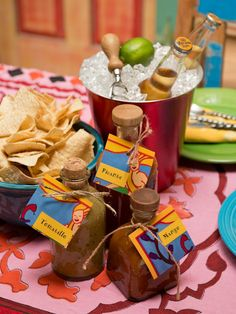 Upcycle tequila bottles and use them for homemade salsa bottles  http://blog.diynetwork.com/maderemade/2013/05/03/diy-salsa-bottles/?soc=pinterest They make great food gifts!