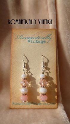 Wedding Swarovski Earrings White Bridal by RomanticallyVintage, $28.50
