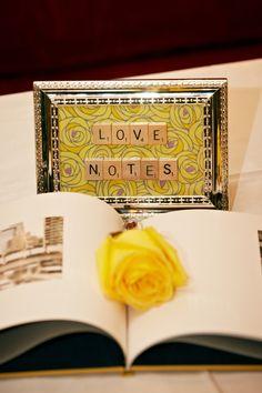 Amazing wedding idea for decor - scrabble letters  (Pear Studios Inc) #wedding #Grey #yellow